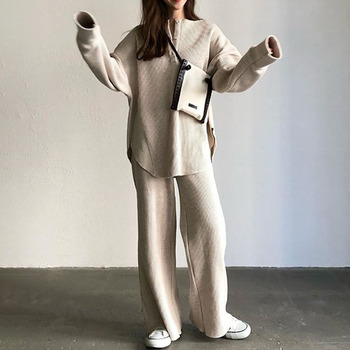 Women Two Piece Sets 2019 Korean Basic Autumn Long Sleeve Sweater Shirts and Wide Legs Pants Tops and Trousers Suit Minimalist