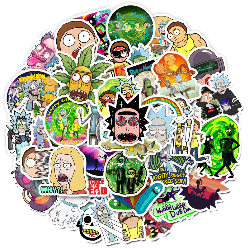 10/30/50pcs/Pack Waterproof Cartoon Rick And Morty Guitar Luggage Laptop Stickers Kid Classic Toy Stickers Skateboard Suitcase