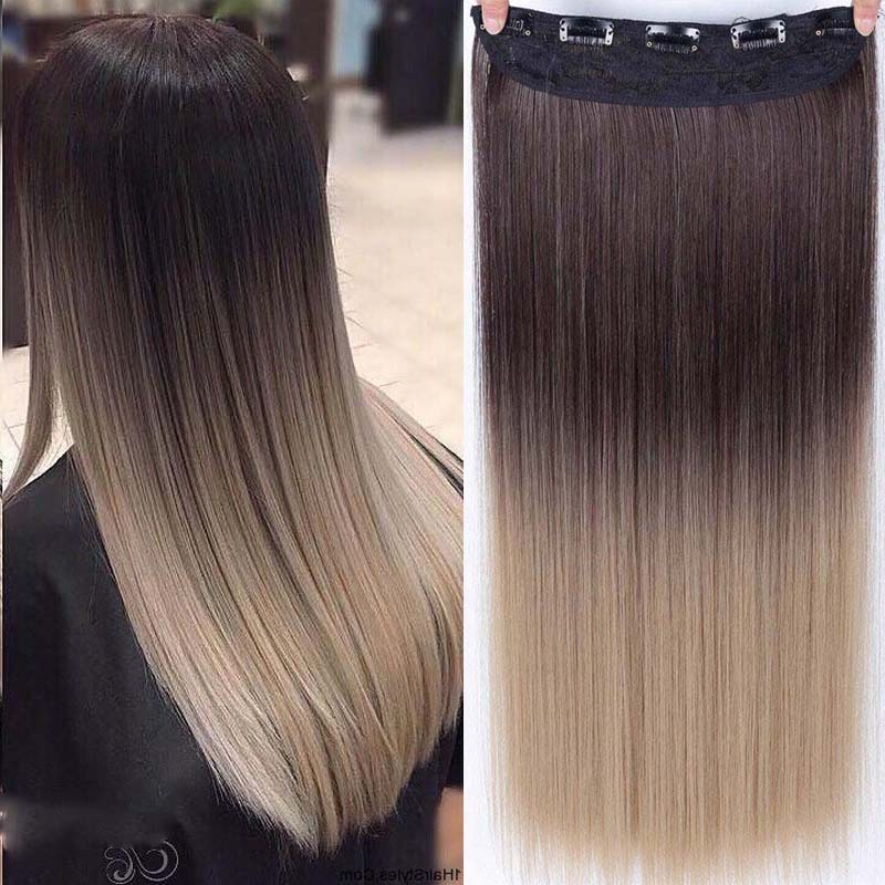 Long Straight  5 Clips In Hair Extension Synthetic Hairpiece Haistyle High Temperature Fibert White Red Purple Grey