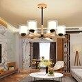 Современный дизайн стеклянный шар люстра 6 головок прозрачный стеклянный пузырь лампа люстра для гостиной кухни черный/золотой светильник