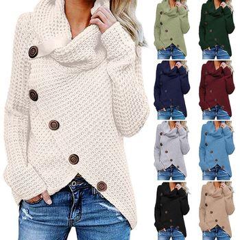 Women Winter Autumn Long Sleeve Pullover Tops Turtleneck Oblique Buttons Waffle Knitted Irregular Hem Loose Sweatshirt pullover frayed hem knitted top