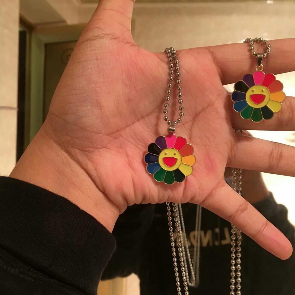 Модный Kpop Harajuku Сплав Классический Подсолнух фресками красочные пенталы смайлик кулон ожерелье уличный стиль ювелирные изделия