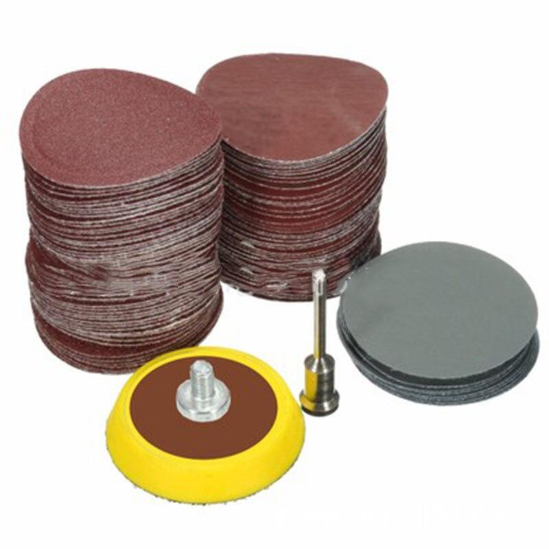 100Pc 25mm Grinding Sanding Disc Sand Paper Hook Loop Sander + M6 Drill Adapter