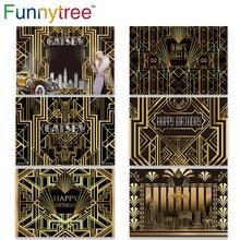 Funnytree Gatsby Vĩ Đại Trang Trí Phông Nền Chụp Ảnh Sweet 16 Đảng 18 Sinh Nhật Vàng Và Đen Sang Trọng Hình Nền Photozone
