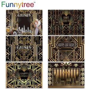 Image 1 - Funnytree Gatsby Vĩ Đại Trang Trí Phông Nền Chụp Ảnh Sweet 16 Đảng 18 Sinh Nhật Vàng Và Đen Sang Trọng Hình Nền Photozone