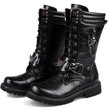 Army Boots Men Military Boots 2019 Leather Winter Black cowboy snow Metal Gothic Punk Boots Male Shoes Motorcycle boots new motorcycle fur boots men brand military boots pu leather spring black metal gothic punk boots male shoes botas moto hombre