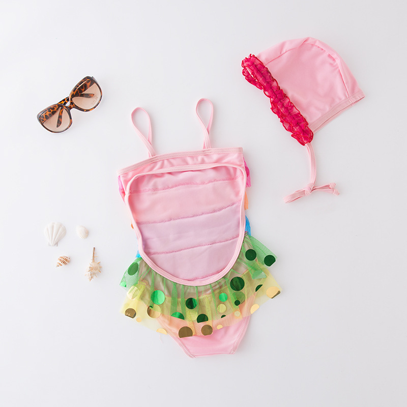 Short In Size Processing KID'S Swimwear GIRL'S One-piece Swimming Suit Rainbow Camisole Triangular Skirt Bathing Suit With Cap 2