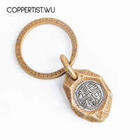 Coppertist. wu okap płytka mosiądz z srebrny brelok handmade breloczek moda breloczek wisiorek do torebki optymistyczny i szczęśliwy