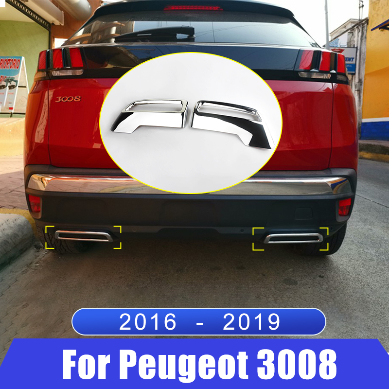 For <font><b>Peugeot</b></font> <font><b>3008</b></font> 5008 Access Active Allure <font><b>2016</b></font> 2017 2018 2019 Rear Exhaust Muffler Tail End Pipe Cover Trim Auto Accessories image