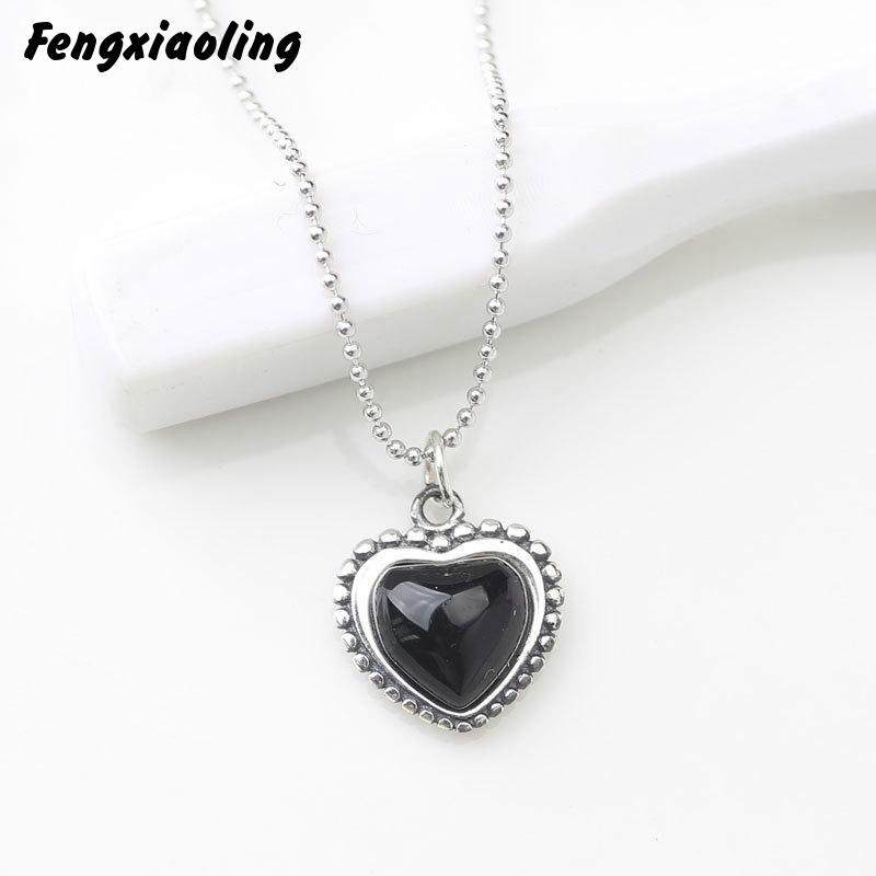 Gemei 100% 925 Sterling Silver Black Natural Stone Heart Necklaces & Pendants For Women Fashion Party Jewelry