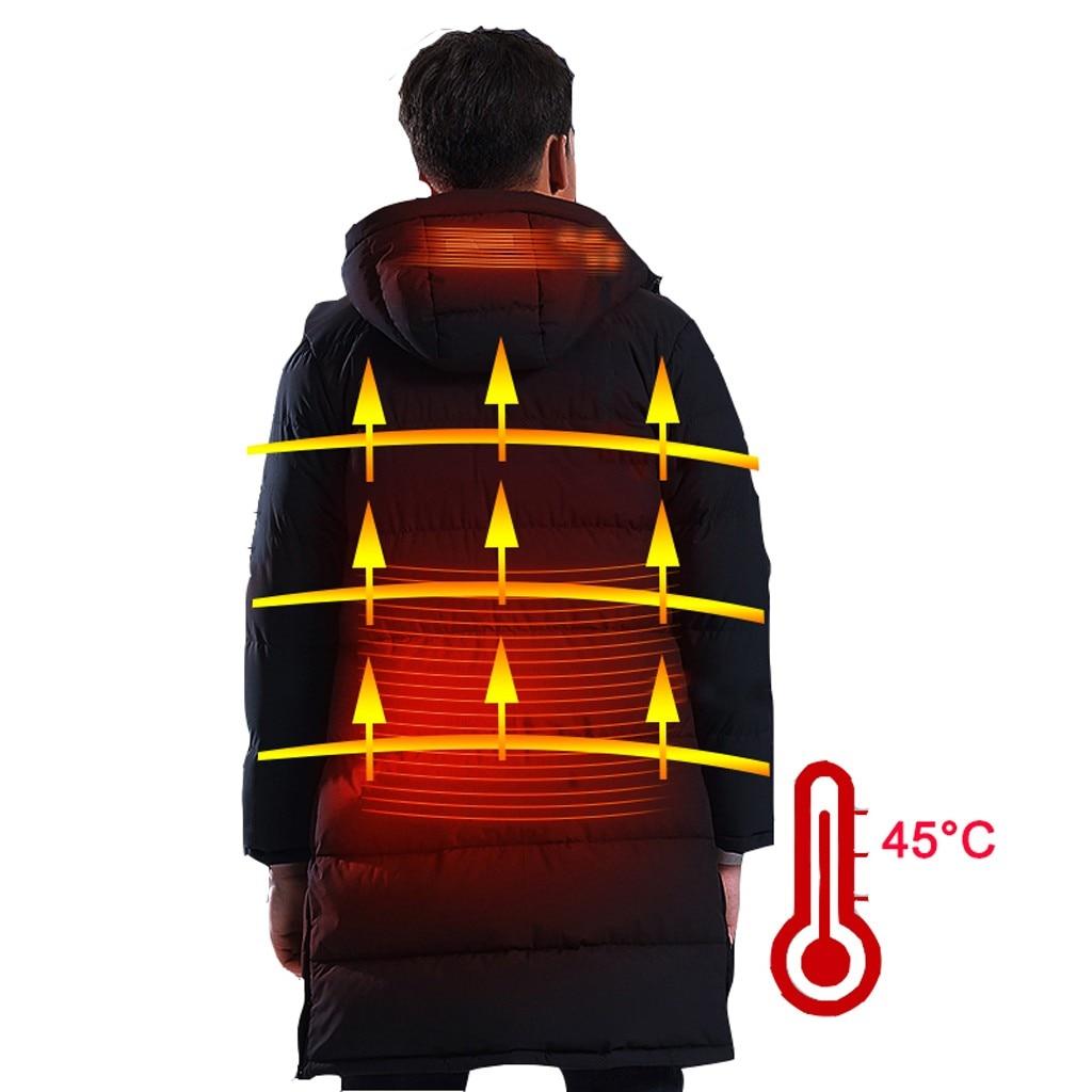 Tide Smart USB куртка с электрическим подогревом для мужчин Высокое качество сплошной черный теплый пуховик на молнии мужской топ с капюшоном толстое длинное пальто - 2