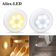 Luces nocturnas inalámbricas con Sensor de movimiento, luz de decoración para dormitorio, Detector de 6LED, Lámpara decorativa para pared, escalera, armario, habitación, pasillo