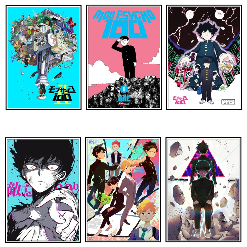 mob psycho 100 art poster white paper painting wall picture home decor posters living room wall sticker room decor