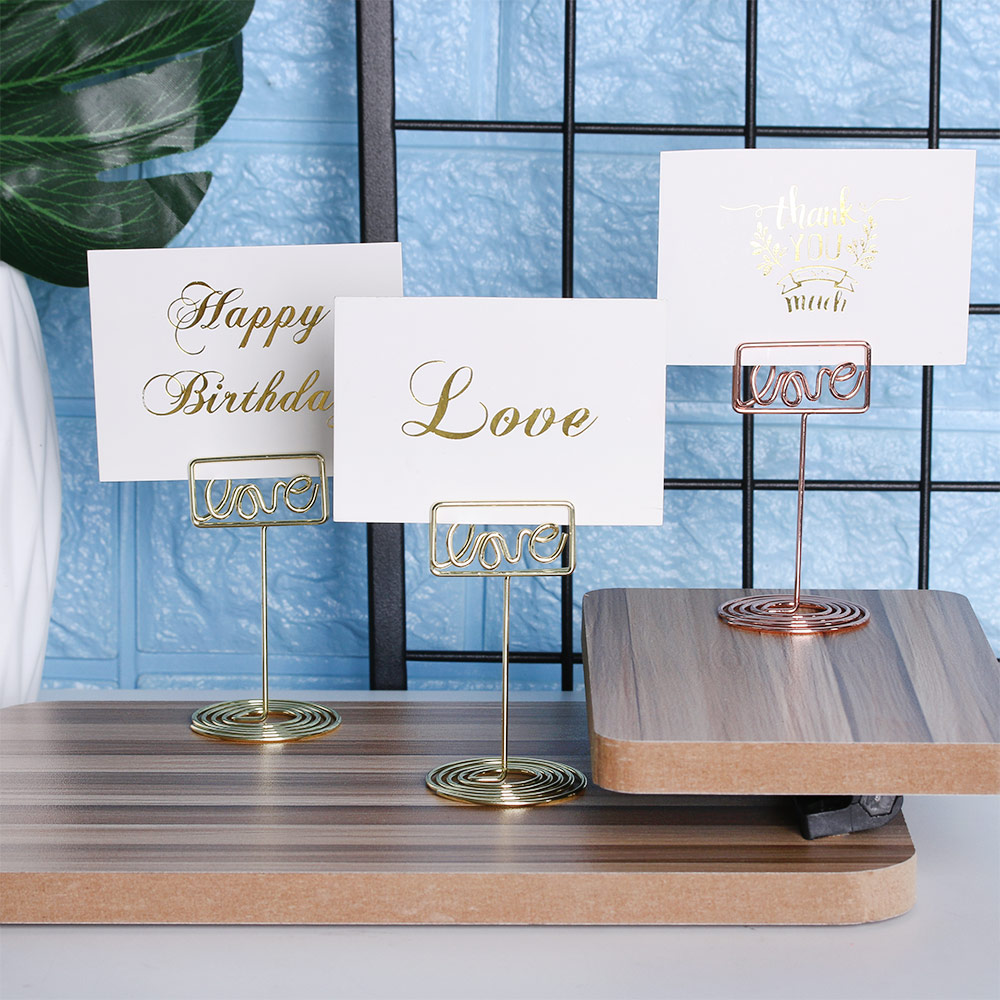 Desk Notes Folder Wedding Party Desktop Place Card Holder Romantic Love Photo Clip Table Number Stand Office School Supplies