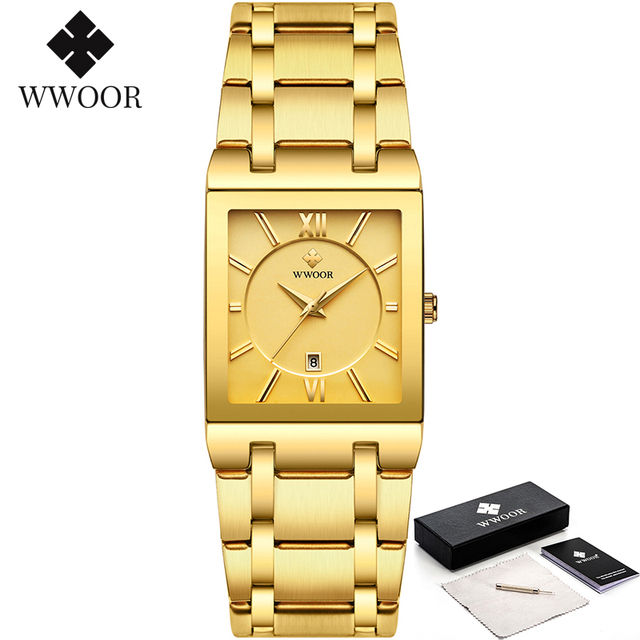 Relogio Masculino WWOOR Gold Watch Men Square Mens Watches Top Brand Luxury Golden Quartz Stainless Steel Waterproof Wrist Watch 2