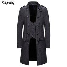 SUKIWML длинный Тренч пальто для мужчин новые смокинги пальто шейкер части на завязках ветровка мужская зимняя уличная Тренч пальто