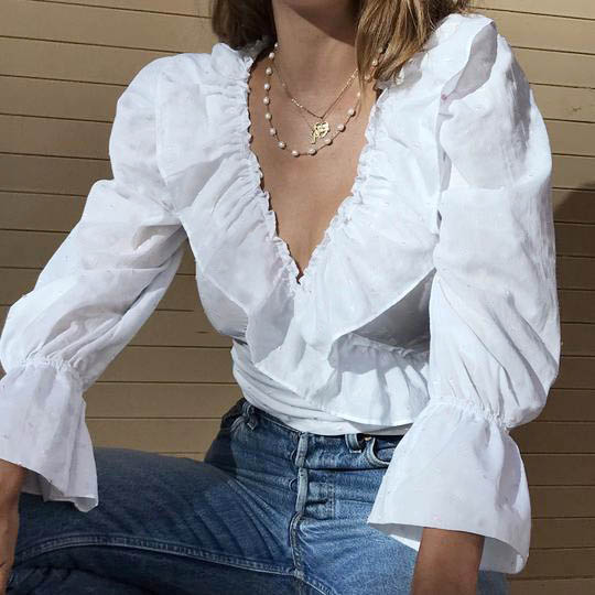 High Street Women Sexy Ruffled V Neck Crop Top Long Puff Sleeve Blouse Shirts Fashion Ladies Solid Color Slim Fit Casual Tops