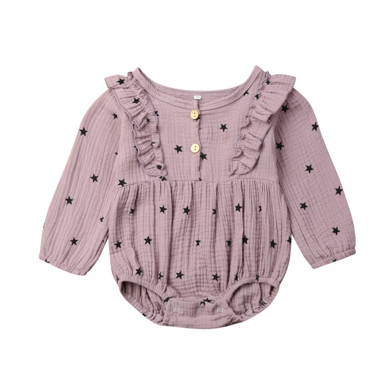 4 Color 0-18M Autumn Infant Baby Girls Bodysuit Long Sleeve Star Print Kids Casual Jumpsuit Outfits