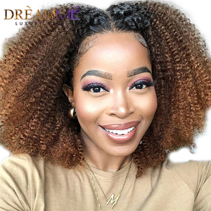 Image 4 - Ombre Blonde Short Human Hair Wig 13X4 Deep Part Lace Front Wig For Women Brazilian Remy Kinky Curly Wig Preplucked 150 Density