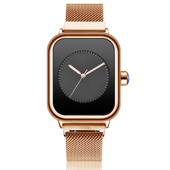 Square Women Quartz Watches Creative Rectangle Dial Female Wristwatches Minimalist Quartz Magetic Unisex Watch For Couple Lovers