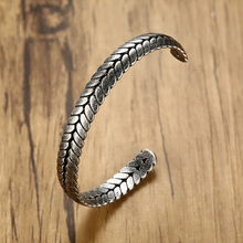 Vnox Stylish Wheat Ear Shape Bangle For Men Women Cuff Bracelet Retro Viking Stainless Steel Casual Old Fashion Jewelry Pulseira mens love knot bangle stainless steel antique silver color knot twisted cuff bracelet unisex men jewelry pulseira braslet
