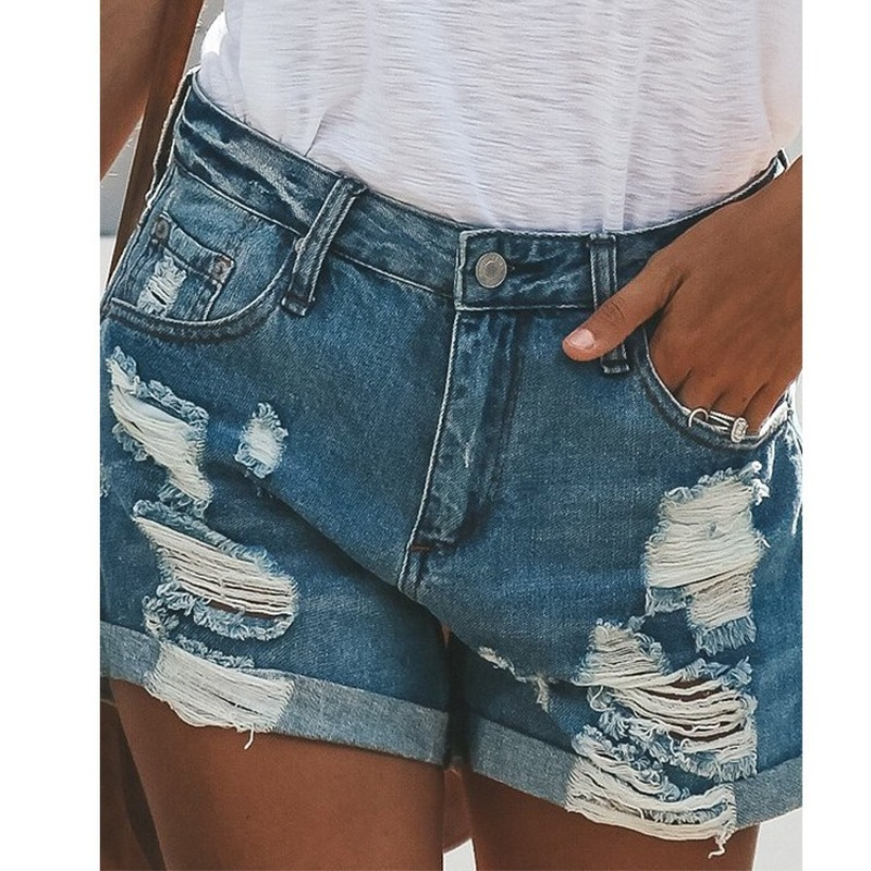 Denim Shorts Jeans Blue High-Waist Women Sexy Female Summer Hole for Mini Ripped Plus