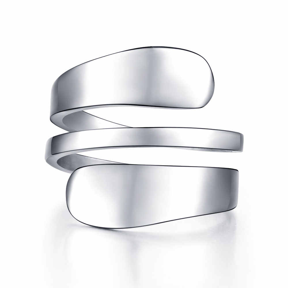 Women's ring  Fashion Stainless steel Silver Color  Rings For Women Crimped Ring 3 Row anillos mujer bague femme Female Jewelry