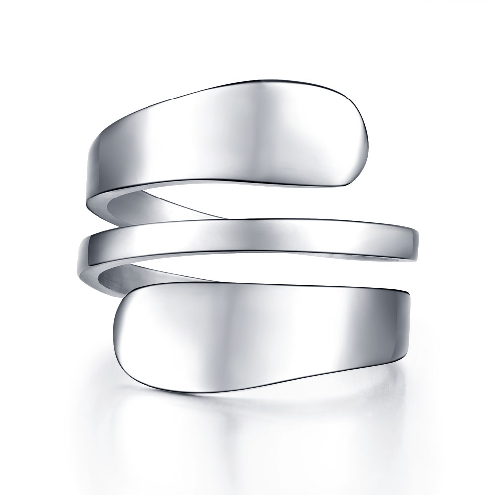 Anillo de mujer moda Acero inoxidable anillos de Color plata para mujer anillo prensado 3 filas anilos mujer bague femme joyería femenina