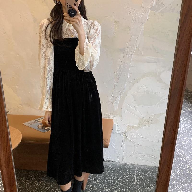 Hcdf0c6f8b5a7464997e084c365466636I - Autumn / Winter O-Neck Flare Sleeves Lace Patchwork Midi Dress