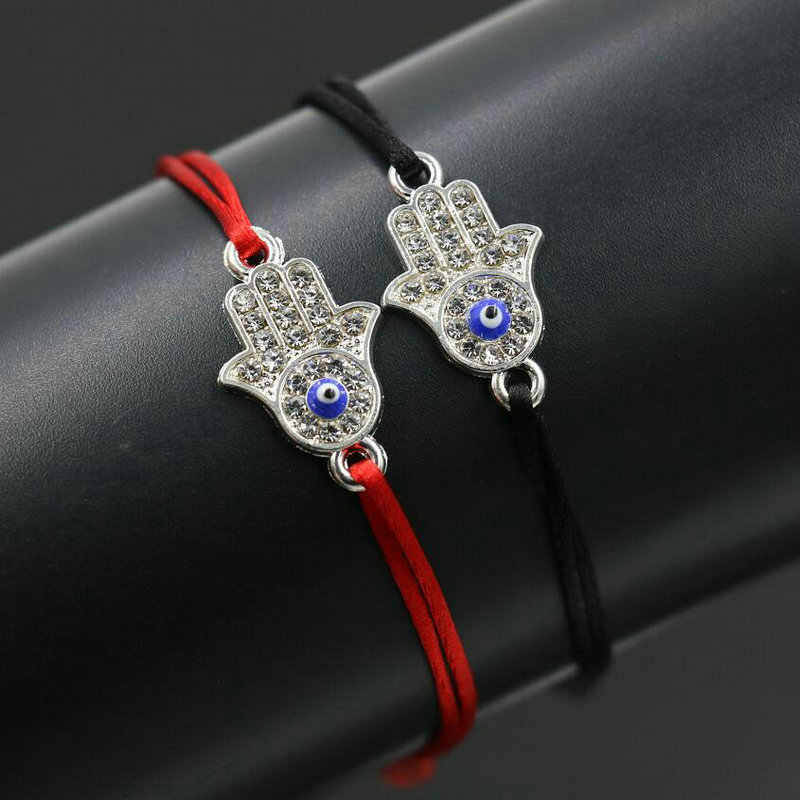 النساء همسة فاطمة اليد حبل أحمر موضوع سلسلة سوار محظوظ مضفر سوار CZ حُليات المجوهرات قابل للتعديل