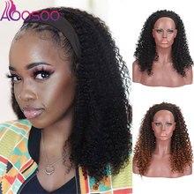 Wig Human-Hair AOOSOO Black for Female Half-Brazilian Silk Curly Kinky-Afro Glueless