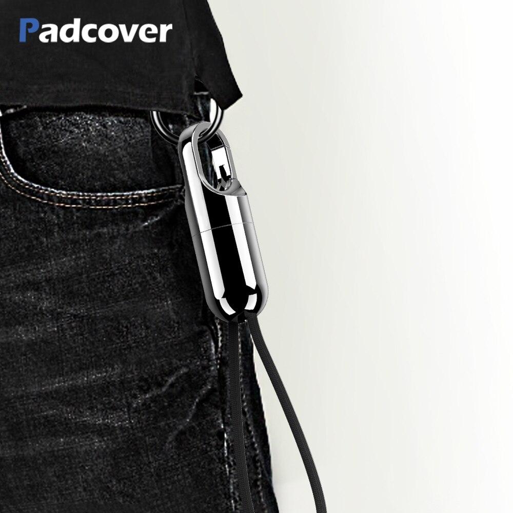 Padcover para iphone x 8 7 6s mais cabo carregador rápido para ipad ar usb cabo de carregamento escondido chaveiro design cabo do telefone móvel