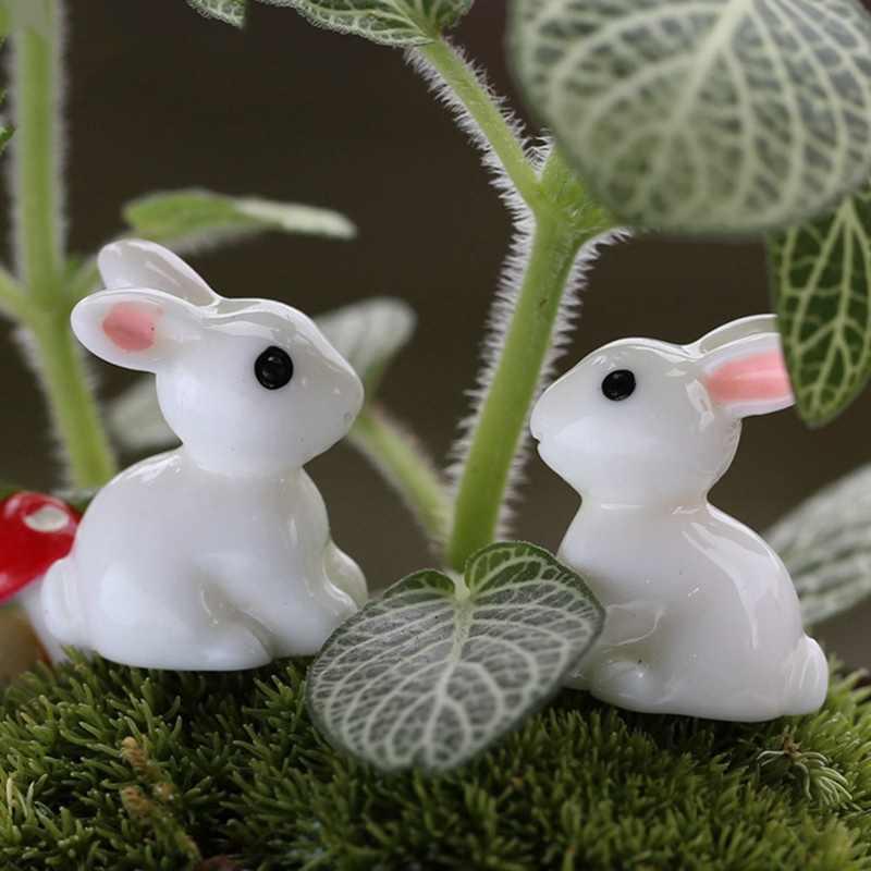 Mini Konijn Tuin Ornament Miniatuur Beeldje Plant Pot Fairy Synthetische Hars handgeschilderde Konijn Decoratie Kids Gift Pasen