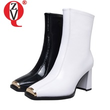Chelsea Boots Women's Shoes High-Heels Office Winter Patent Leather ZVQ Woman Ankle 7cm