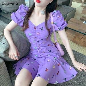 Sukienka kobiety lato nowy fioletowy motyl drukowanie dziewczyny dekolt plisowane bufiaste rękawy cienka szczupła moda Sexy wygodne studenci