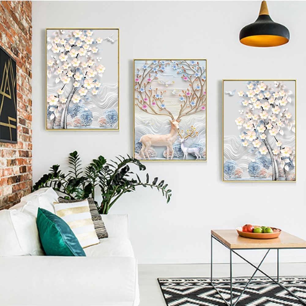 قماش جدار الفن اللوحة الشمال الحيوان الغزلان الأشجار المشارك الفن طباعة الجدار الديكور ديكور المنزل صورة