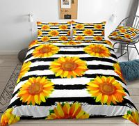 3 adet sarı ayçiçeği yatak siyah beyaz şerit yorgan yatak örtüsü seti çiçek yorgan kapak çiçek çift kişilik yatak seti sarı Dropship