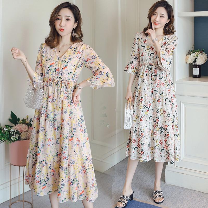 Retro Vintage Print Floral Chiffon Maternity Dresses For Pregnant Women Clothes V-Neck Loose Pregnancy Vestidos Casual Clothing