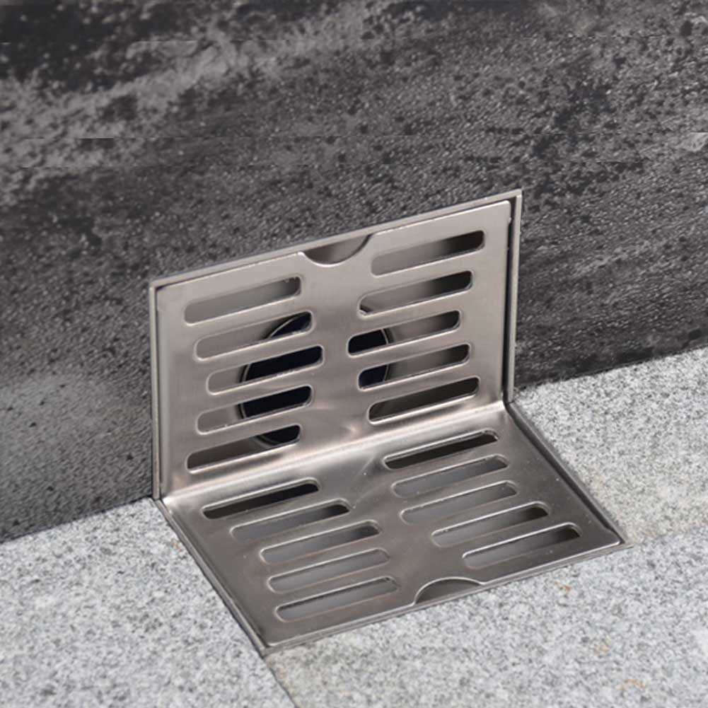 Stainless Steel Filter Wall Side Shower Home Residue Isolation Solid Floor Drain Hair L Shape Bathroom Same-layer Non Slip
