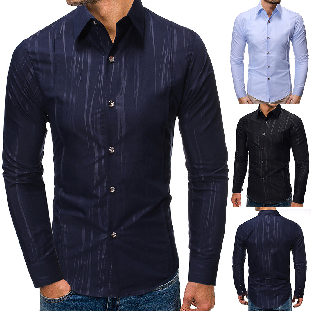 Men Shirts  New Arrivals Texture Printing Slim Fit Male Shirt Solid Long Sleeve British Style Cotton Men's Shirt