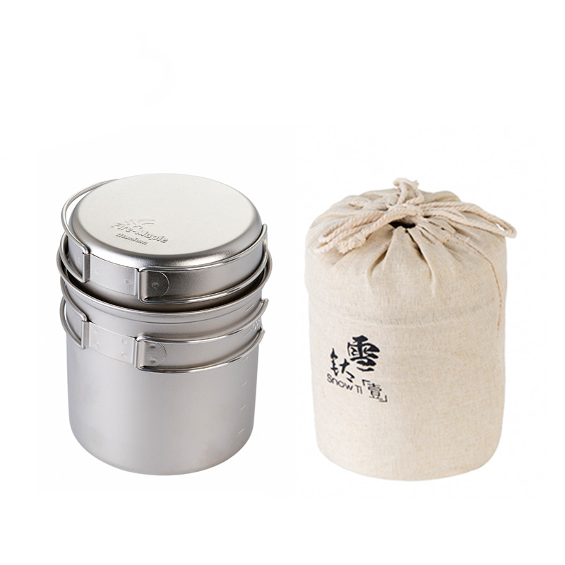 Hiking Ultralight Portable Snow Titanium Outdoor Camping Pot and Frying Pan Ultra Light Camping Pots Set Cookers in Camping Cookware from Sports Entertainment