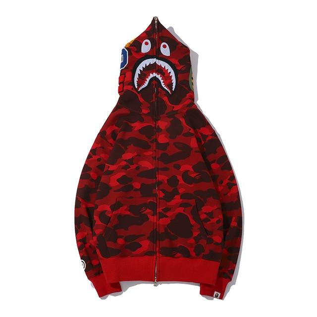 Hoodies Winter Camouflage Men Sweatshirt Youth Bape Shark Casual Hooded Coat Tracksuit Couple Clothing Lounge Wear 2