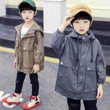 2019 Autumn Boys Jacket Children Long Sleeve Hooded Active Windbreaker Teenage Clothes Sport Coat with Pocket Outwear