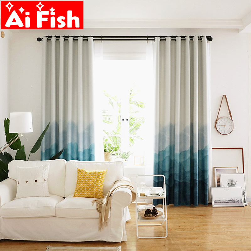 Physical Bedroom Blackout Curtains Modern Minimalist Gradient Blue Mountain Scenic Pattern Curtain For Living Room Panel AF056-5