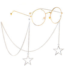 Anti-slip popular metal glasses cord silver five-star pendant hand-made glasses chain cross-border(China)