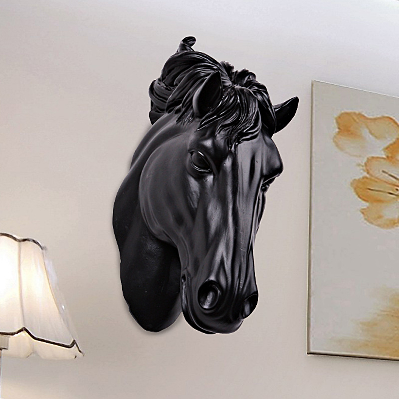 Horses Head Wall Hangin 3D Animal Decorations Art Sculpture Figurines Resin Craft Home Living Room Wall Decorations