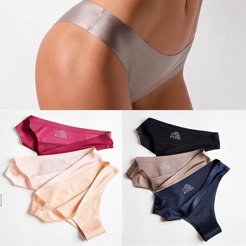 Frauen Höschen Nahtlose Glatte Ultra-dünne G-string Thongs Low Taille Dessous Eis Seide Slip Dame Unterwäsche