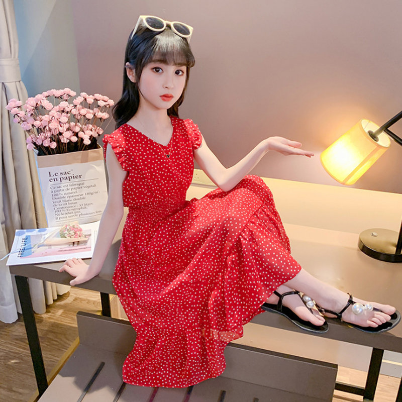 <font><b>Summer</b></font> Little Red Dot <font><b>Girls</b></font> <font><b>Dress</b></font> <font><b>12</b></font> Children <font><b>Dress</b></font> 10 Chiffon 9 <font><b>Dress</b></font> 11 <font><b>Years</b></font> <font><b>Old</b></font> Princess <font><b>Dress</b></font> <font><b>Girls</b></font> Christmas Banquet Party image