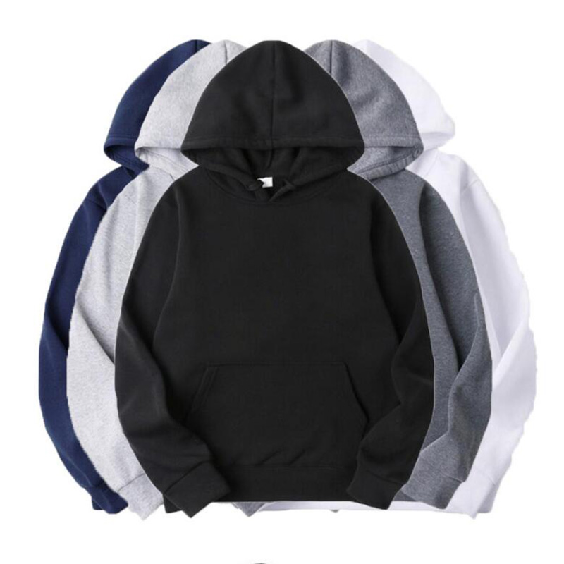 Autumn And Winter Fashion Solid Color Men's Hip Hop Plus Velvet Hooded Sweatshirt Unisex Casual Hoodie Jacket S~XXXL