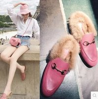 2019 Winter Fur Flats Woman Chain Shoes Suede Rabbit Fur Mules Plush Furry Moccasins Ladies Rubber Oxford Creepers